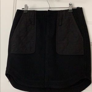 Madewell black wool skirt with quilted pockets
